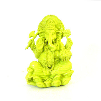 ganesh statue, neon home decor, lime green, modern asian art, ganesha, buddha figurines