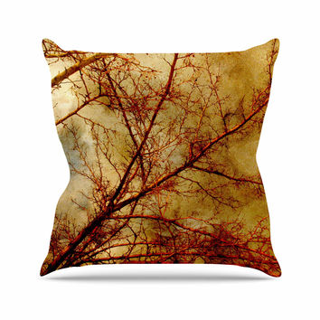 "Sylvia Coomes ""Gothic Red Tree"" Gold Nature Throw Pillow"