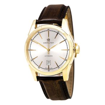 Hamilton H42445551 Men's Spirit of Liberty Brown Leather Strap Silver Dial Automatic Watch