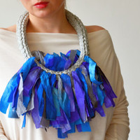 Blue Necklace in Sari Silk