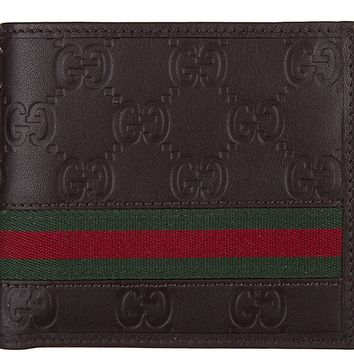GUCCI MEN'S WALLET LEATHER COIN CASE HOLDER PURSE CARD BIFOLD GUCCISSIMA MAR 26B