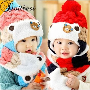 Doitbest 12 months to 4 Y kids Beanies 2018 Korea Bear kid boys Knit hats winter 2 pcs fur baby girls winter hat and scarf