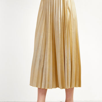 Gold Contrast Pleated Skirt