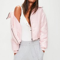 Missguided - Pink High Shine Cropped Puffer Jacket