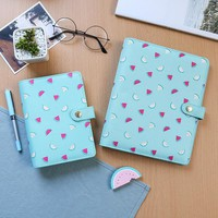Cute Watermelon Serie A6 Fabric Spiral Notebooks Stationery,Candy School 6 holes Binder Person Agenda Planner Organizer Gift
