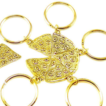 Best friends, Golden Pizza keyrings, keychains, bag charms Item No.70