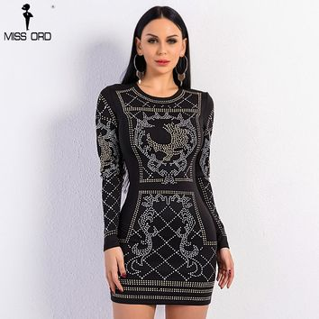 Missord 2017 Sexy O-neck long-sleeved geometric silver and gold studded velvet dress FT3610 Rhinestone