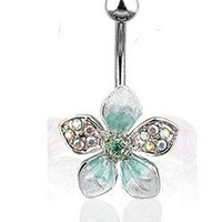Stainless Steel Pave Gemed Tropical Green Flower Belly Button Naval Ring Dangle 14 Gauge B110