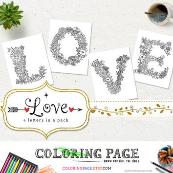 Coloring Pages LOVE Printable Alphabets Coloring Letters Stress Relieving DIY Adult Coloring Book Printable Art Instant Download Digital Art
