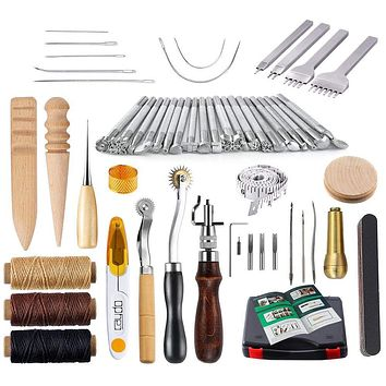 CAYDO - 59 Pieces Leather Craft Hand Tools Kit for Hand Sewing Stitching, Stamping Set and Saddle Making Including Instructions
