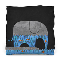 Thirsty Elephant Outdoor Throw Pillow