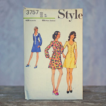 Vintage Dress Sewing Pattern Style 3757, Misses' Dress Size 14 Medium Printed Pattern One Piece Dress with retro gathered sleeves tie waist