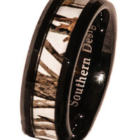 White Camo On Black Tungsten Ring