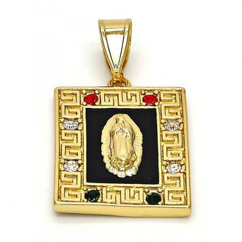 Gold Layered 05.253.0008 Religious Pendant, Guadalupe and Greek Key Design, with Multicolor Crystal, Black Enamel Finish, Gold Tone