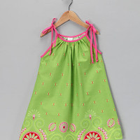 Moo Boo - Lime Gypsy Border Dress - Toddler and girls, babies and kids