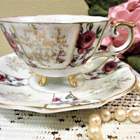 Teacup Coffee Tea Fine Bone China Porcelain Trimont Ware Pink Rose Gold blm