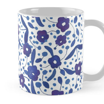 'Blue and White Florals in Gouache' Mug by yaansoon