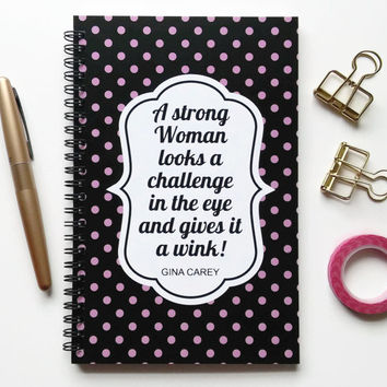 Writing journal, spiral notebook, sketchbook, bullet journal, blank lined grid - A strong woman looks a challenge in the eye gives it a wink
