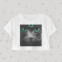 I'm a Demon Kitty printed Midriff Cropped Blouse. Street-Style Fashion - teenage - crop - Teen Girl - Casual wear