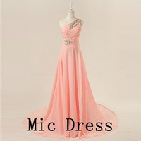 One-shoulder sleeveless floor-length chiffon beading appliques long prom/Evening/Party/Homecoming/cocktail /Bridesmaid/Formal Dress