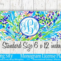 Aqua Seaweed Monogram License Plate Metal Wall Sign Auto Car Truck Tags Personalized Custom Vanity Teal Lilly Inspired