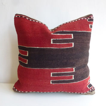 Red and dark Brown Kilim Pillow Cover