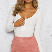 My Beloved Long Sleeve Snap Front Scoop Neck Bodysuit - 2 Colors Available