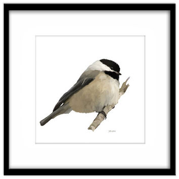 Printable Bird Art, Willow Tit Instant Download,  Wild Bird Painting, Country Garden Art