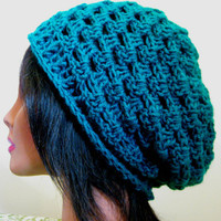 Teal Slouchy Hat Lacy Womens Oversize Slouch Beanie