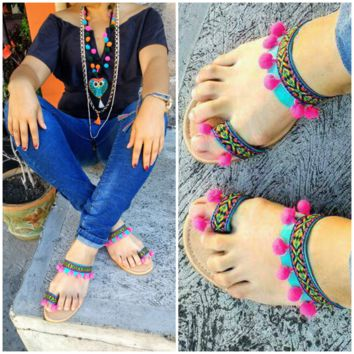 Boho Ethnic Tribal Sandals Turquoise Pink
