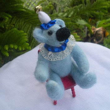 Hand Crafted Felted Teddy Bear in Clown costume. Miniature Bear, Needle Felted.