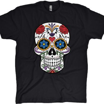 Day of the Dead Skull Mens Modern Fit Cotton T-shirt