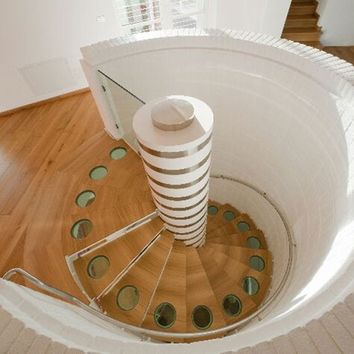 Wood and crystal Spiral staircase spiral staircase Monte Bianco by ANTICO TRENTINO DI LUCIO SRL