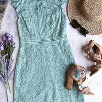 cherry on top - lace mock neck dress - dusty slate
