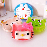 Hello Kitty/frog Kawaii Cute Cartoon Drain Soap box Dish Plate Tray Storage Case Kitchen Bathroom Accessories Kids Gift YS13