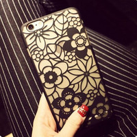 Retro carved hollow lace, Plastic iPhone 6 Case, Clear iPhone 6 plus Cover with Lace Print, Bohemian Phone Cover,  Ethnic iPhone Case,Flowers iphone 5s cover = 1928657476