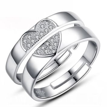 Match Heart Couple Rings Lovers USA Silver His and Her Promise Wedding Band Ring
