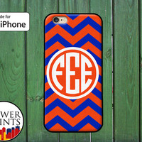 Blue And Orange Chevron Pattern Custom Monogram Initials Accessory Rubber iPhone 4/4s and iPhone 5 and 5s and 5c and iPhone 6 and 6 Plus +