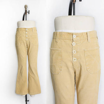 Vintage 1970s Bell Bottom Cords - Brown Corduroy Low Rise Rise Jeans - Large / Medium