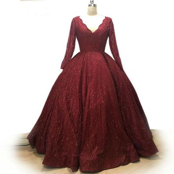 Elegant Ball Gown red Evening Dress Shiny Sequined Long Dress