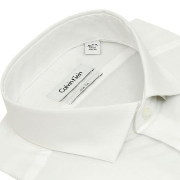 "Calvin Klein Mens Solid White Slim Fit French Cuff Cotton Dress Shirt (15.5"" Neck 34/35"" Sleeve)"