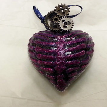Steampunk Rib Cage Heart Ornament