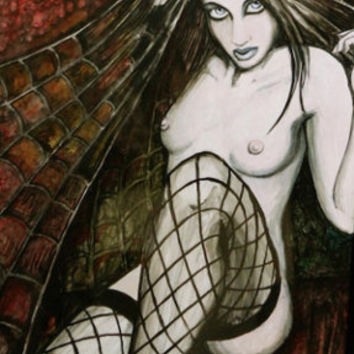 """Gothic Pin up """"Spider"""" archival print. multiple sizes"""