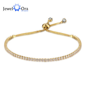 Party Jewelry Adjustable Bracelet For Women 2mm Cubic Zirconia Gold Plated Blacelets & Bangles Friend Gift (JewelOra BA101437)