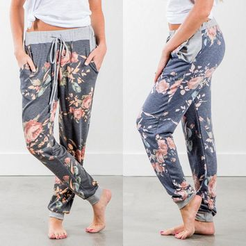 Womens Casual Dance Harem Pants Baggy Slacks Trousers Long Pants Floral Summer Blue Gray