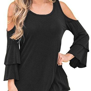 Anatokys Women Hot Cold Shoulder Ruffle Sleeve Blouse Tops