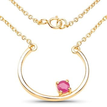 LoveHuang 0.27 Carats Genuine Ruby Minimalist Horseshoes Necklace Solid .925 Sterling Silver With 18KT Yellow Gold Plating, 18Inch Chain