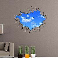 Chic Blue Sky and White Cloud Pattern Removeable 3D Wall Sticker Home Decoration