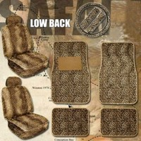 11pc Safari Leopard Car Mats Seat Steering Wheel Cover Set