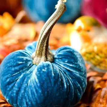 1 Small Teal Blue Silk Velvet Pumpkin, Fall Decor, Table Centerpiece, Homemade Rustic Decoration